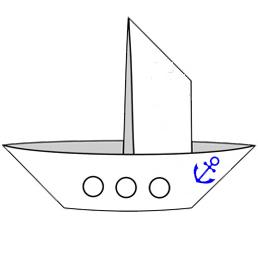 Оригами для детей - кораблик с парусом