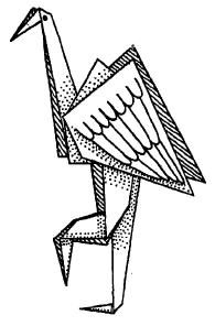Оригами для детей - Цапля