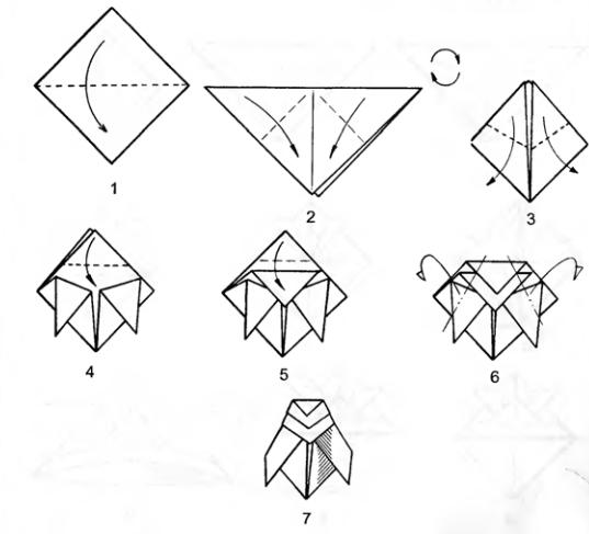 Оригами для детей Муха