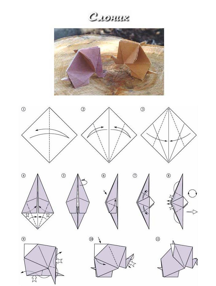 Оригами для детей Слоник