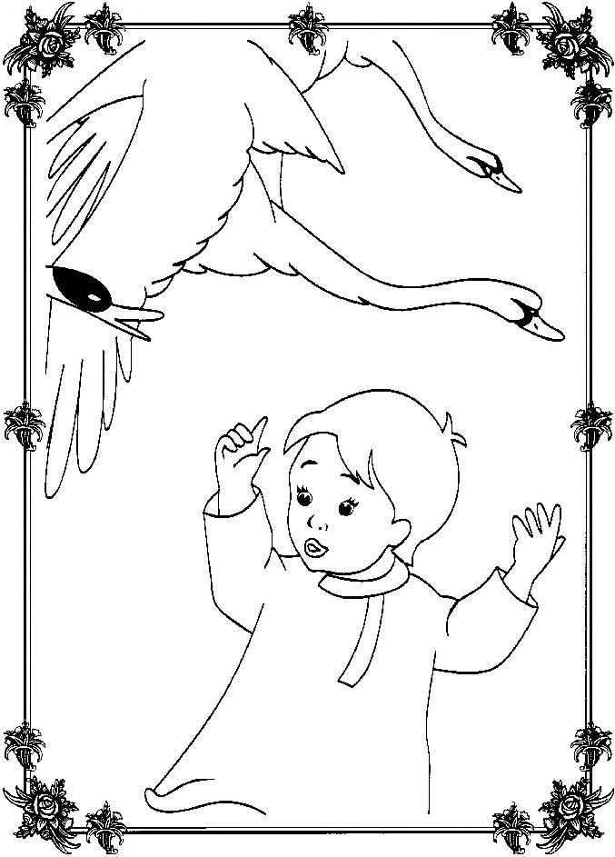 Раскраска для детей из сказки гуси
