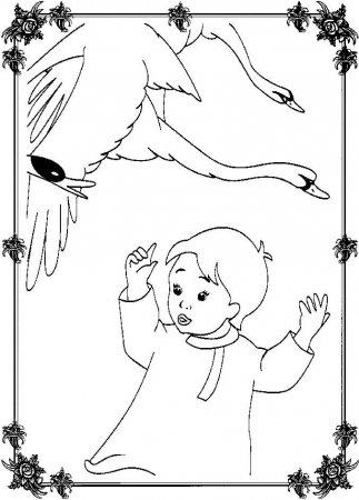 Раскраска для детей Гуси-Лебеди