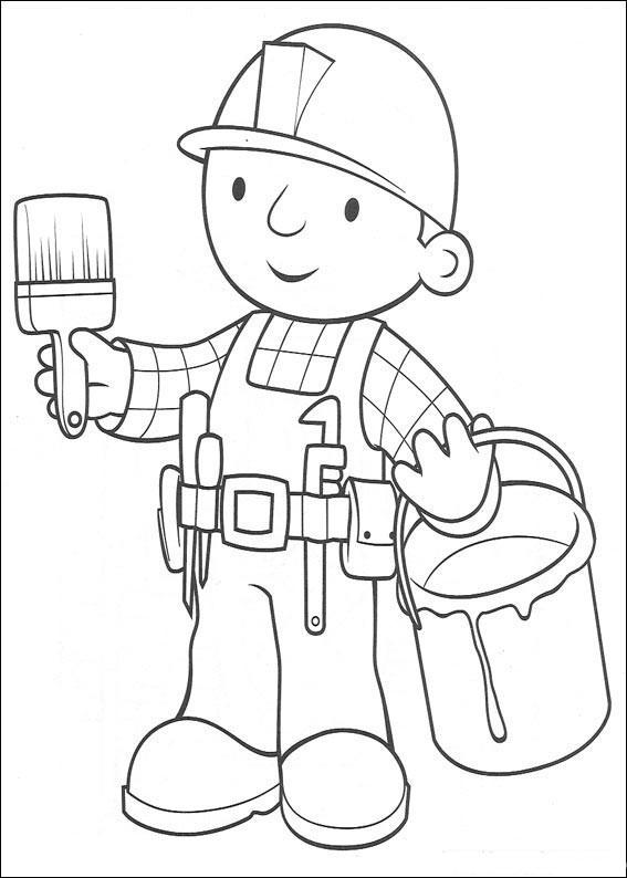 Строители раскраска для детей