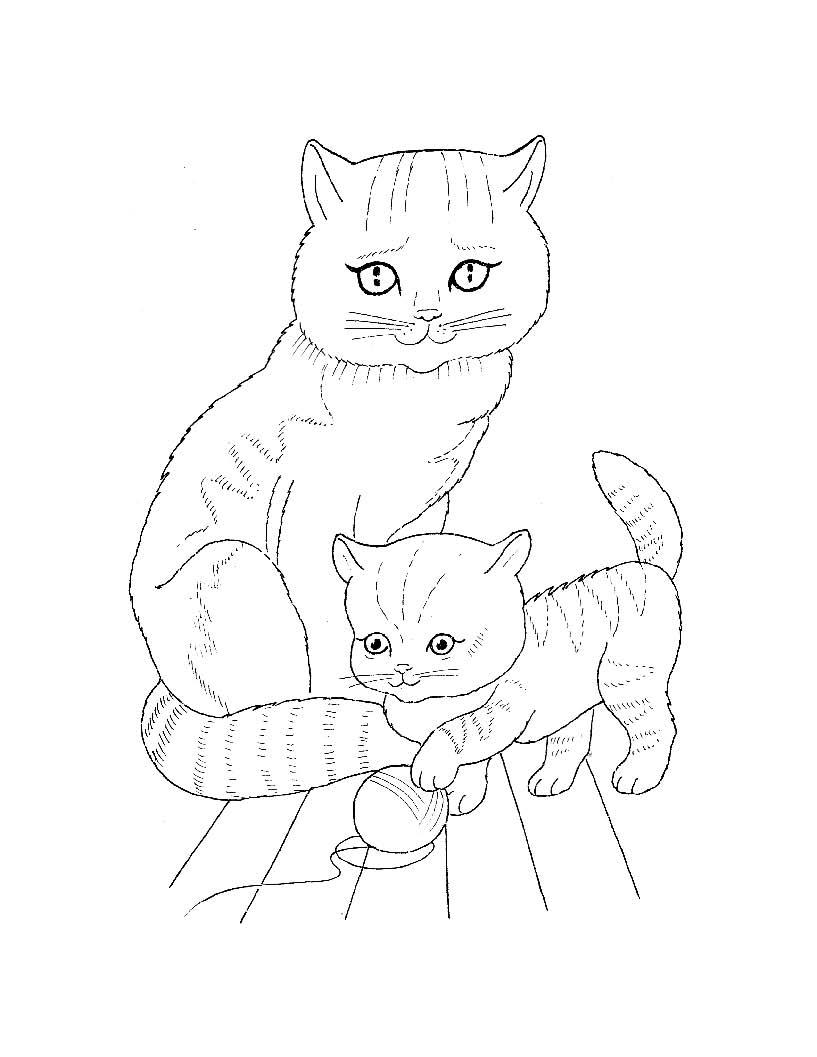 Детские раскраски домашние животные с детенышами