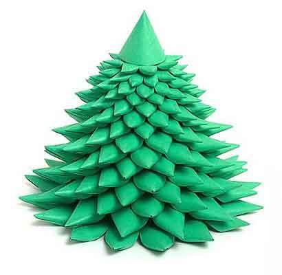 Оригами оригинальная новогодняя Елочка