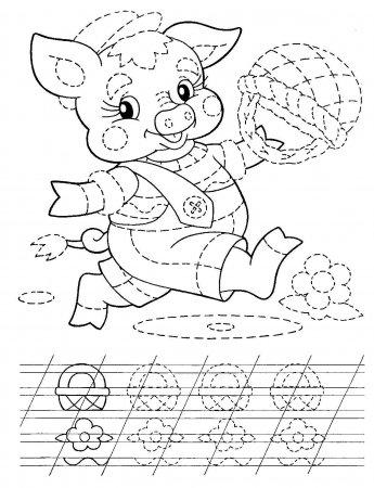 Раскраска для детей, идущих в школу (пропись)