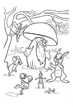 Детская раскраска домик грибок
