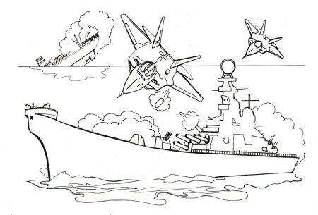Детские раскраски для мальчиков - Сражения в море