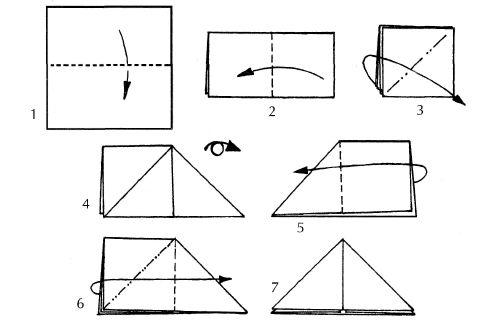 """Базовая форма оригами  """"Водяная бомбочка """".  1) квадратный лист бумаги сложите пополам; 2) заготовку сложите влево..."""