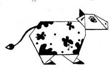 Оригами детям - Корова