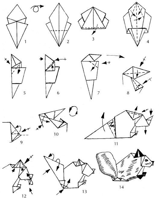 """Оригами для детей  """"Белка """" ."""